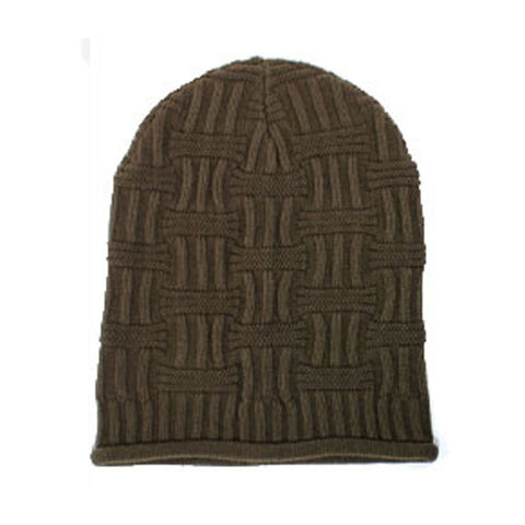 Brown Unisex Basket Weave Slouchy Beanie Hat Mid Weight