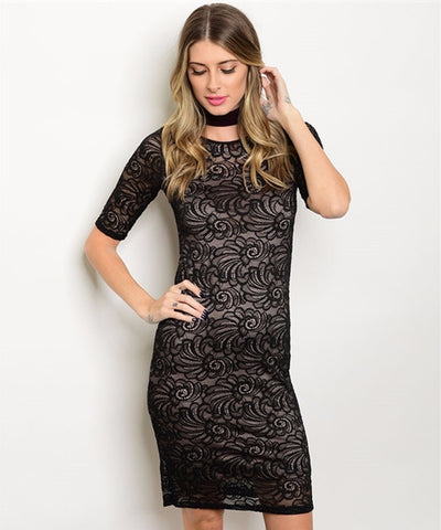 Women's Black Cocktail Lace Mini floral Dress