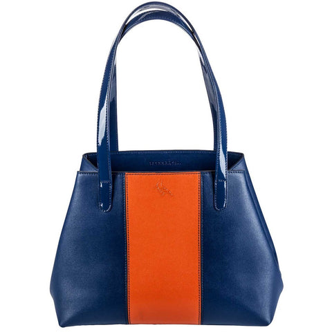 Navy/Orange Saffiano Leather Tote