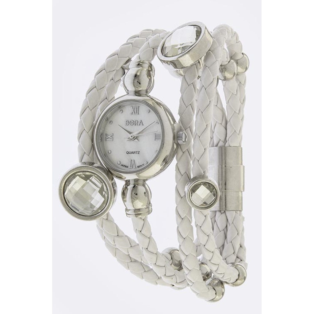 Silver and Braided White Leather Layered Stone Accent Watch