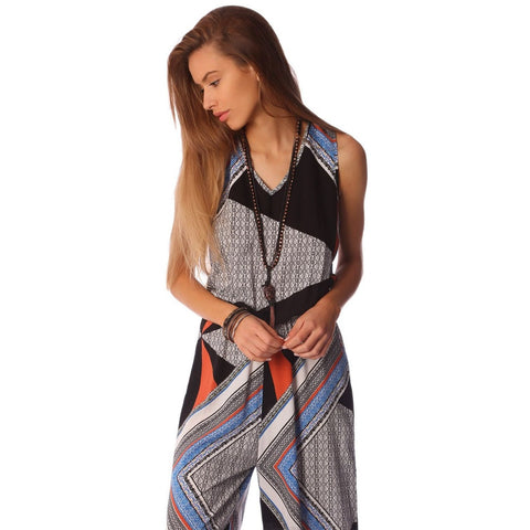 Black and Orange Abstract Print Jumpsuit