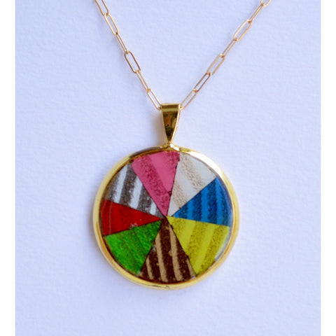 Multicolor Wood in Gold Circle Necklace