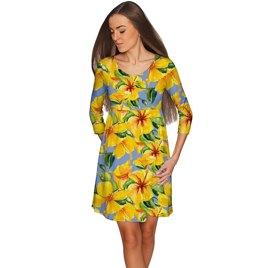 After the Rain Gloria Empire Waist Yellow Floral Dress - Women