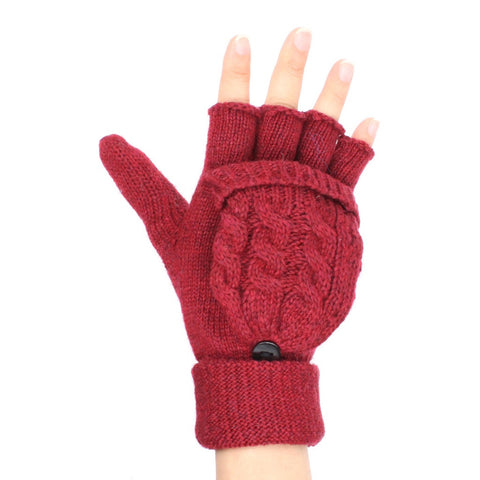 Unisex Cable Knit Wool Blend Fingerless Gloves Mitten Top