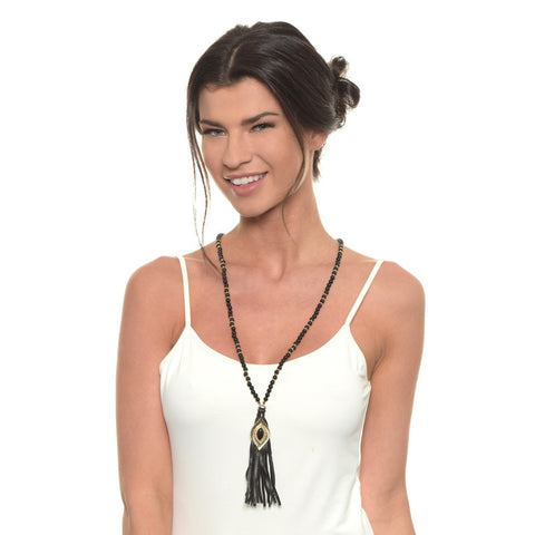 Hippie Wake Up Necklace in Onyx and Gold