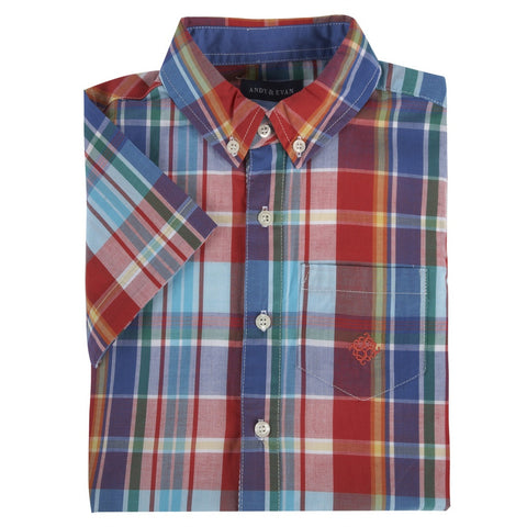 Red & Teal Madras Short Sleeve Button-down Shirt