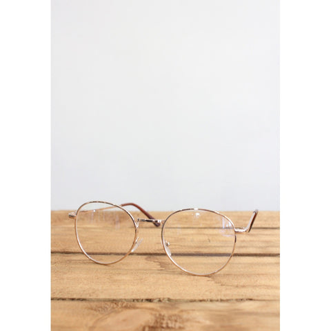 Retro Wayfarer Rose Gold Metal Eyeglasses