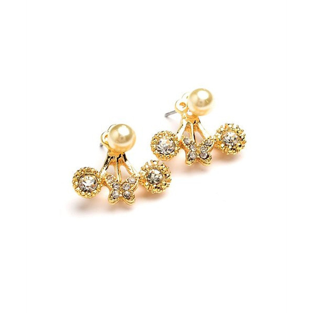 Women's Earrings Burnished Rhinestone Ear Jacket