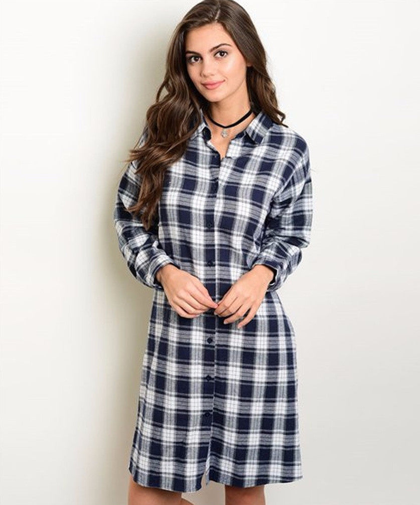 Women's Shirt Dress Plaid Button Down Casual Dress