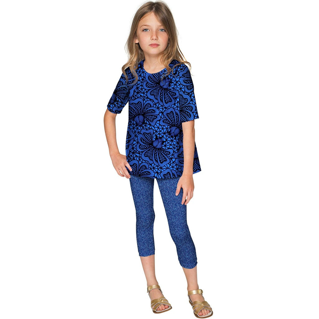 Blue Soulmate Sophia Lace Print Sleeved Party Top - Girls