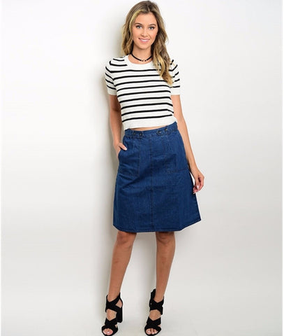 Women's Skirt Dark Denim Jeans Skirt
