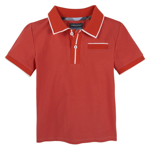 Red Polo with Ribbing