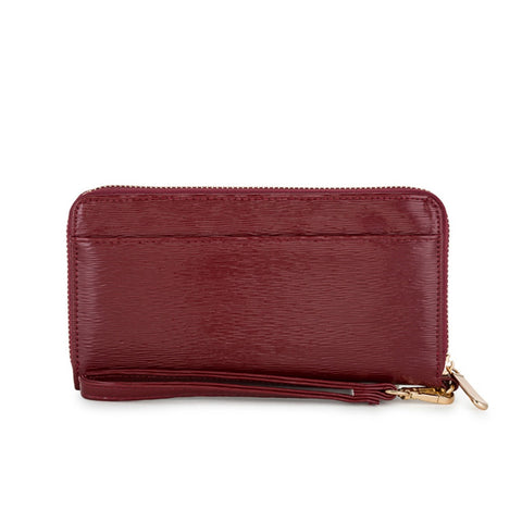 Burgundy Textured Wristlet Wallet