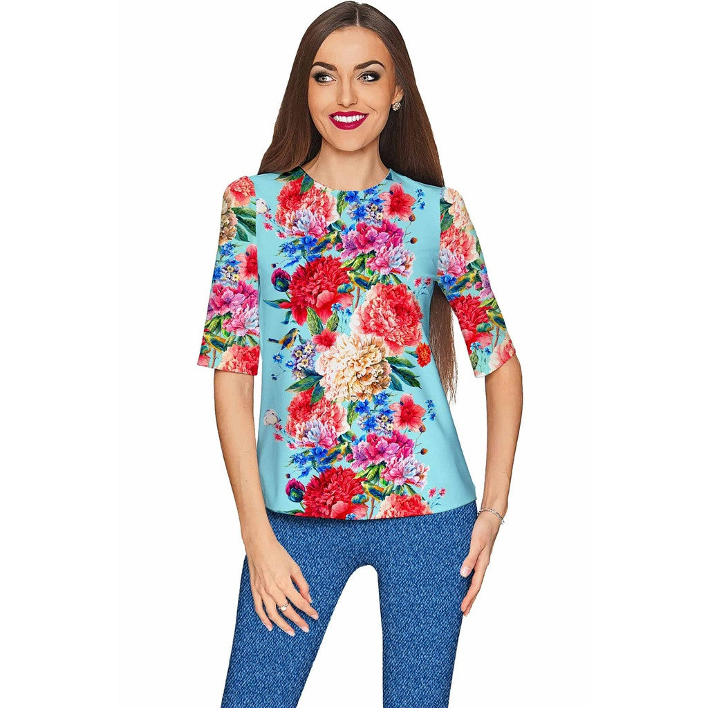Amour Sophia Floral Print Elbow Sleeve Dressy Top - Women