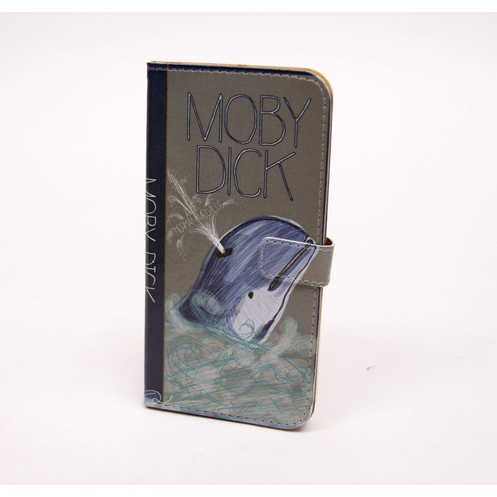 Moby Dick (Dark) Book phone flip case wallet for iPhone and Samsung