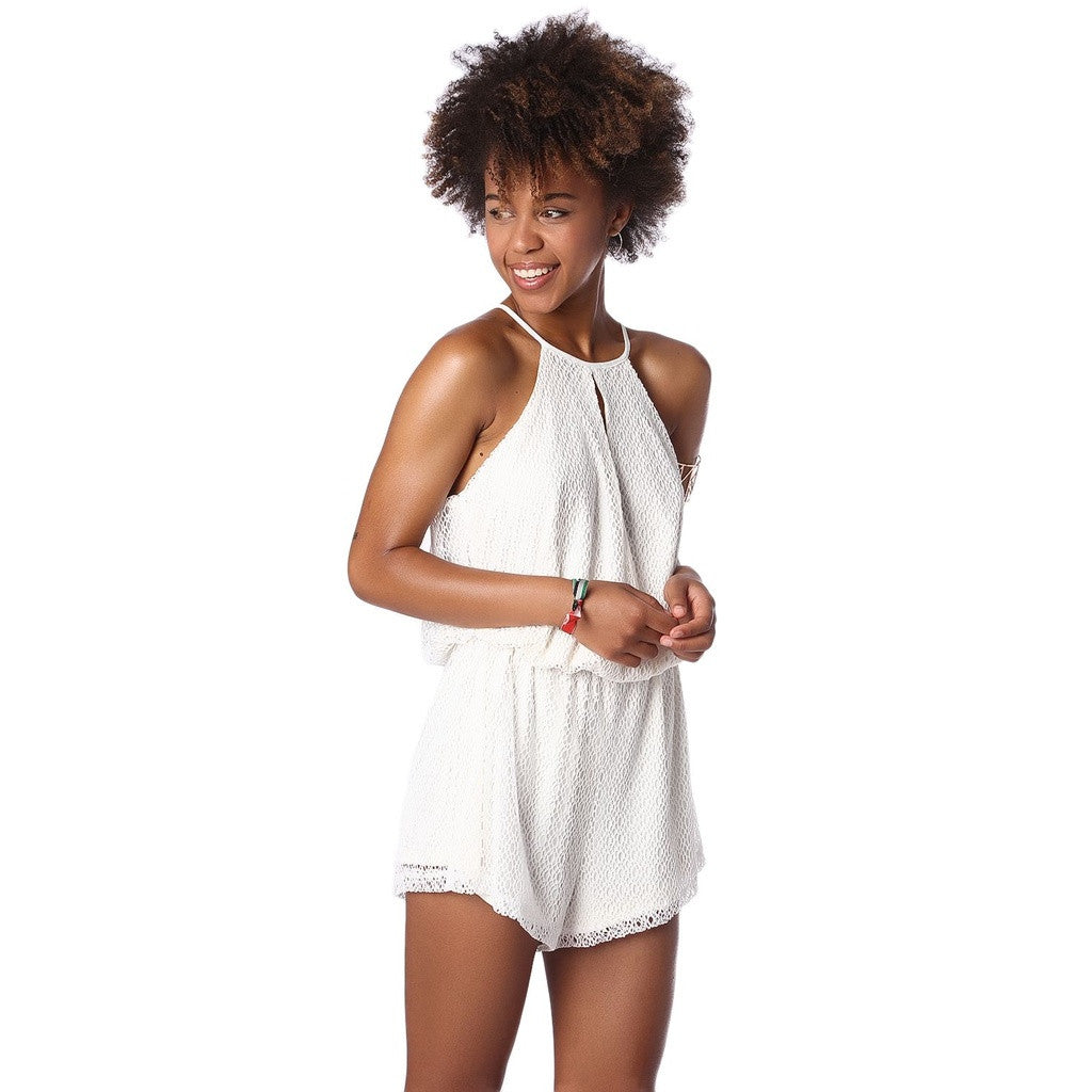 Cream Mesh Romper With Halter Neck And Cut Out Detail