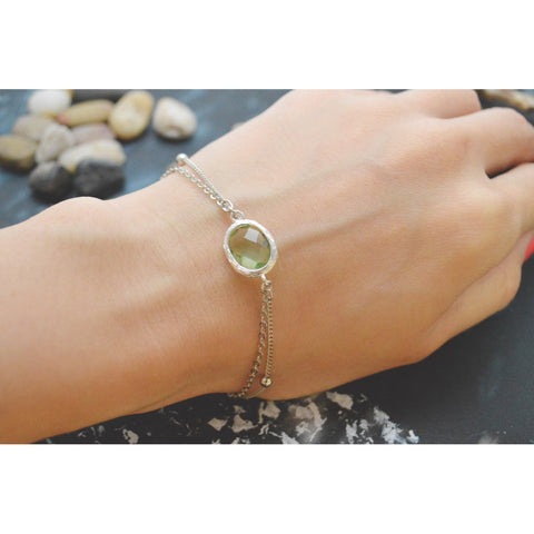 White Gold Double Layered Peridot Bracelet