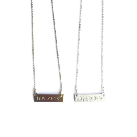"""LOVESURF"" Stamped Necklace"