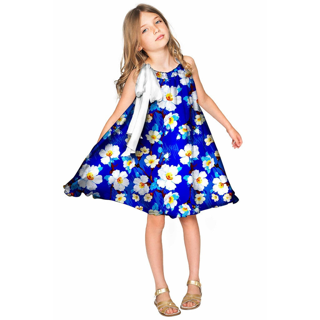 Almond Blossom Melody Blue Chiffon Swing Dress - Girls