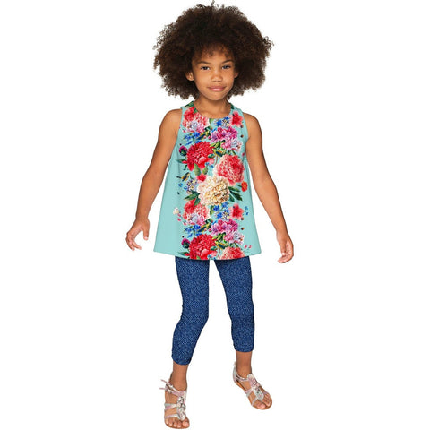 Amour Emily Blue Floral Print Sleeveless Dressy Top - Girls
