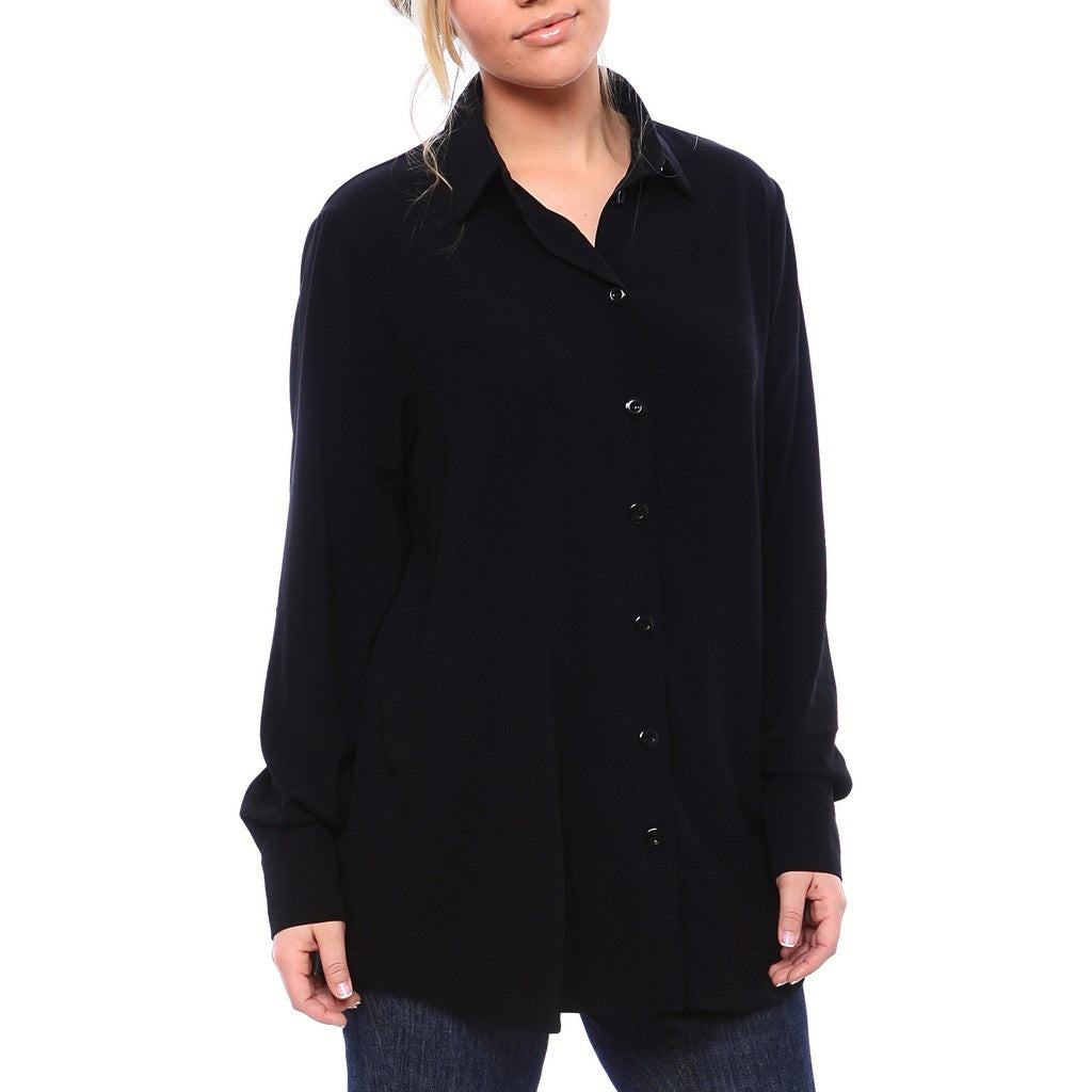 Staple Relaxed Fit Button Down Blouse in Matte Crepe in Black