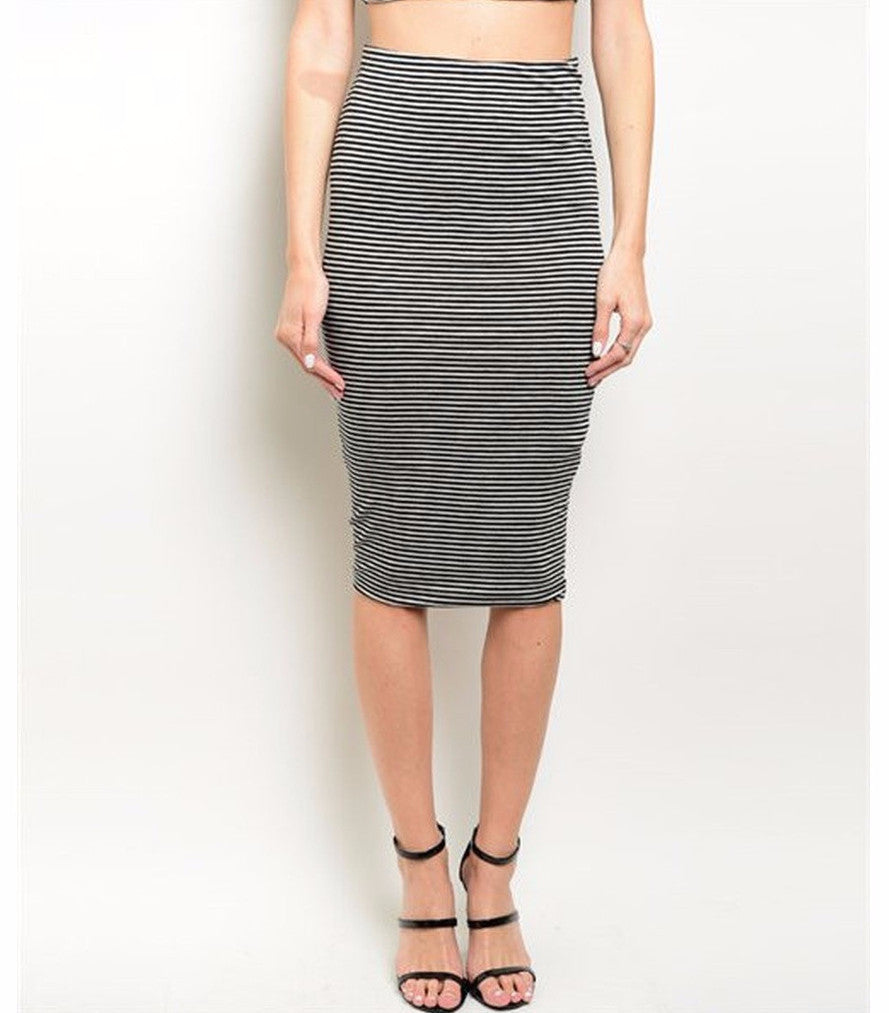 Women's Skirt Striped Black And Grey