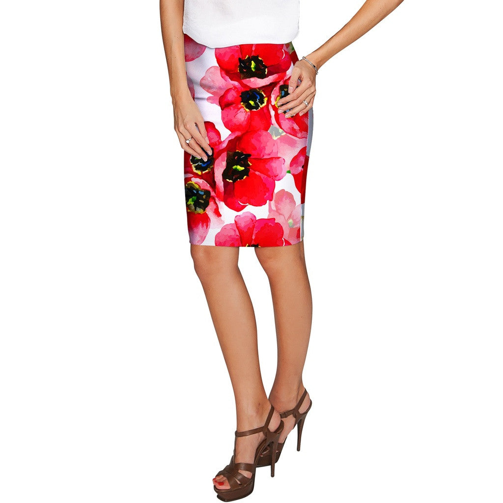 Tulip Salsa Carol Red Summer Stretch Pencil Skirt - Women