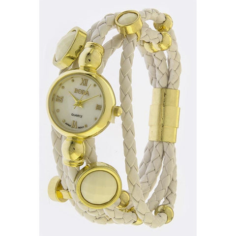 Gold & Braided White Leather Layered Stone Accent Watch