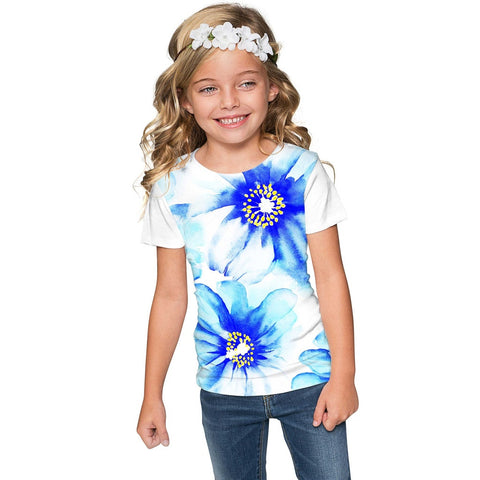 Aurora Zoe Blue Floral Print Cute Designer T-Shirt - Girls