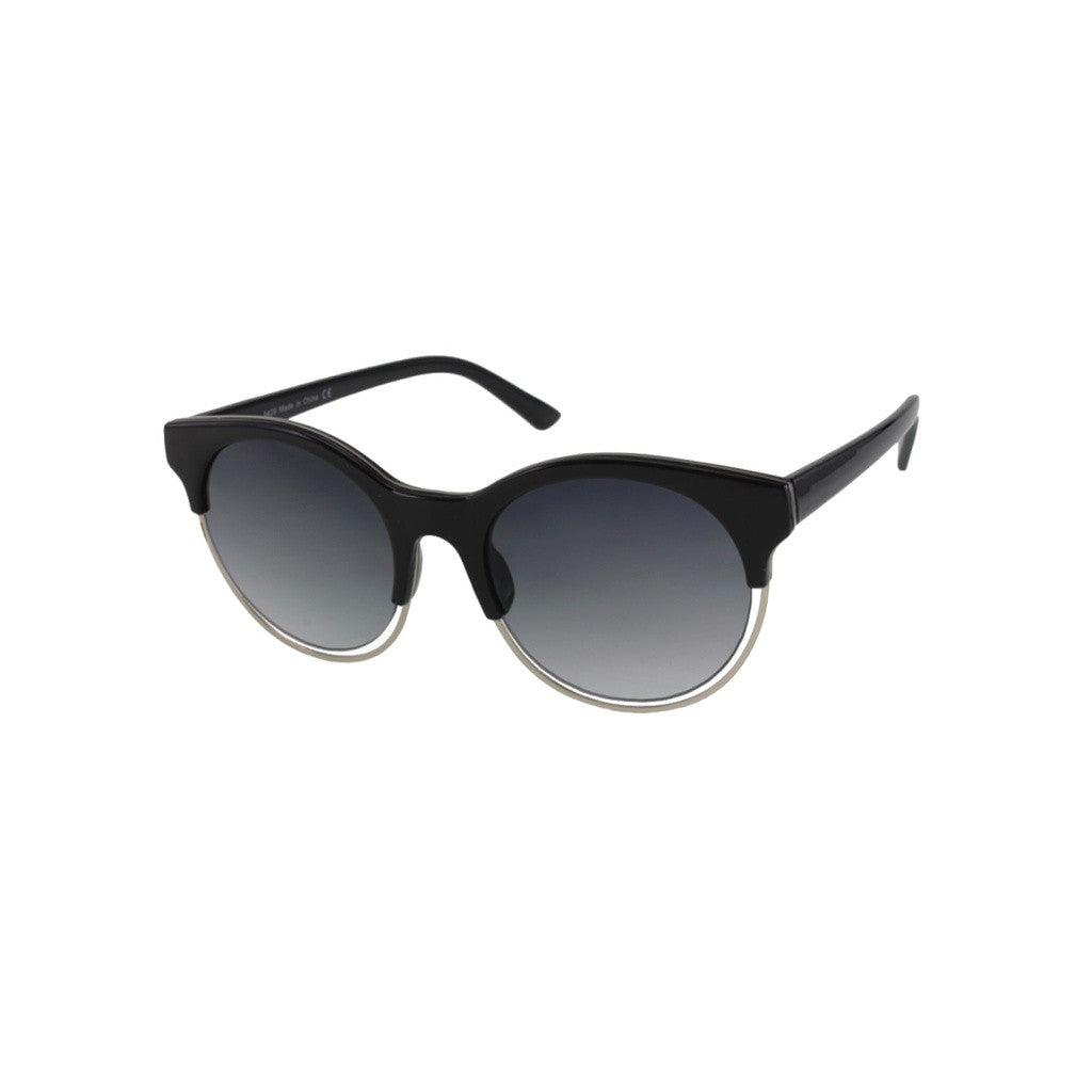 Unisex Black Sunglasses with Floating Metal Rim