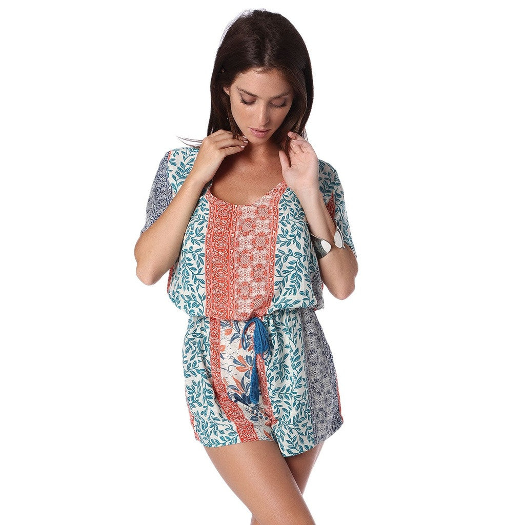 Beige Leaf Print Romper with Rope Tie