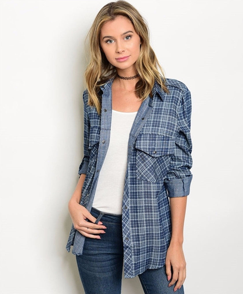 Women's Plaid Denim Button Down Checkered Shirt