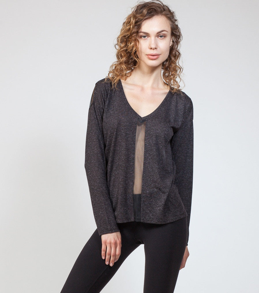 Mix Mesh Panel Sweatshirt