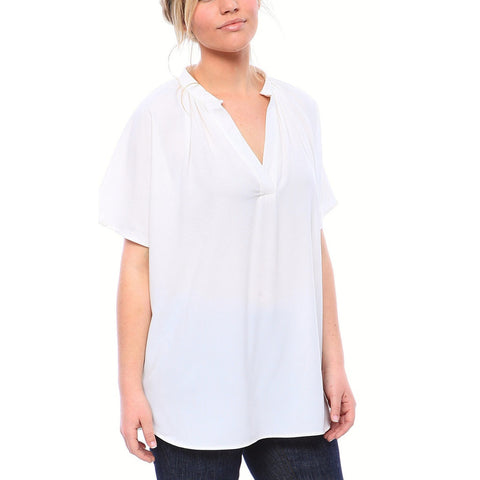 V Neck Popover Matte Crepe Blouse in Off White