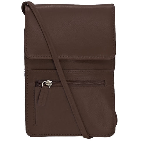 Rfid Blocking Leather Organizer on a String - Brown