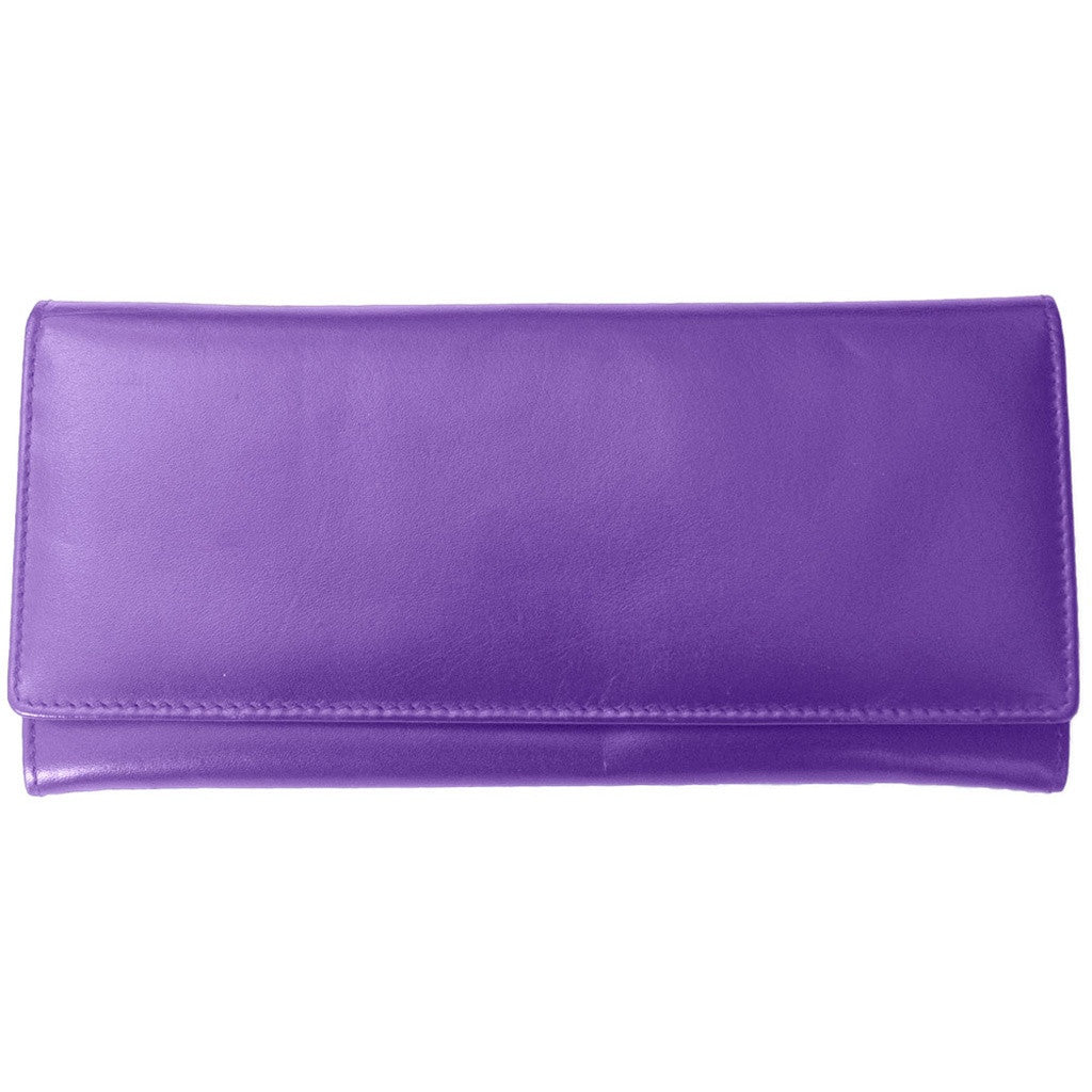Rfid Blocking Classic Leather Wallet - Purple