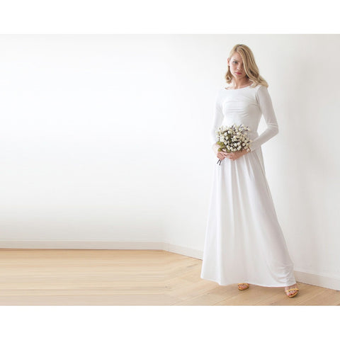 Backless Ivory Maxi Dress With Long Sleeves  1041