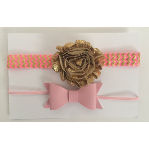 Pink and Gold Head Bow Giftset