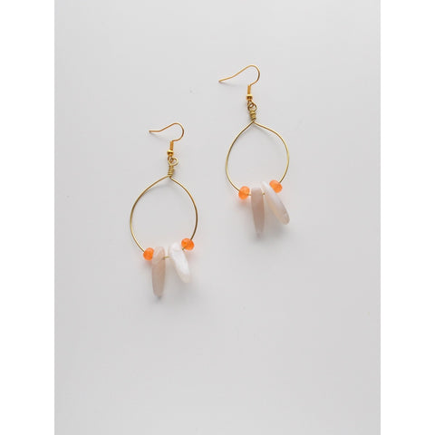 (No. 8635JE) - Do You Dare Earrings, in Light Grey & Orange