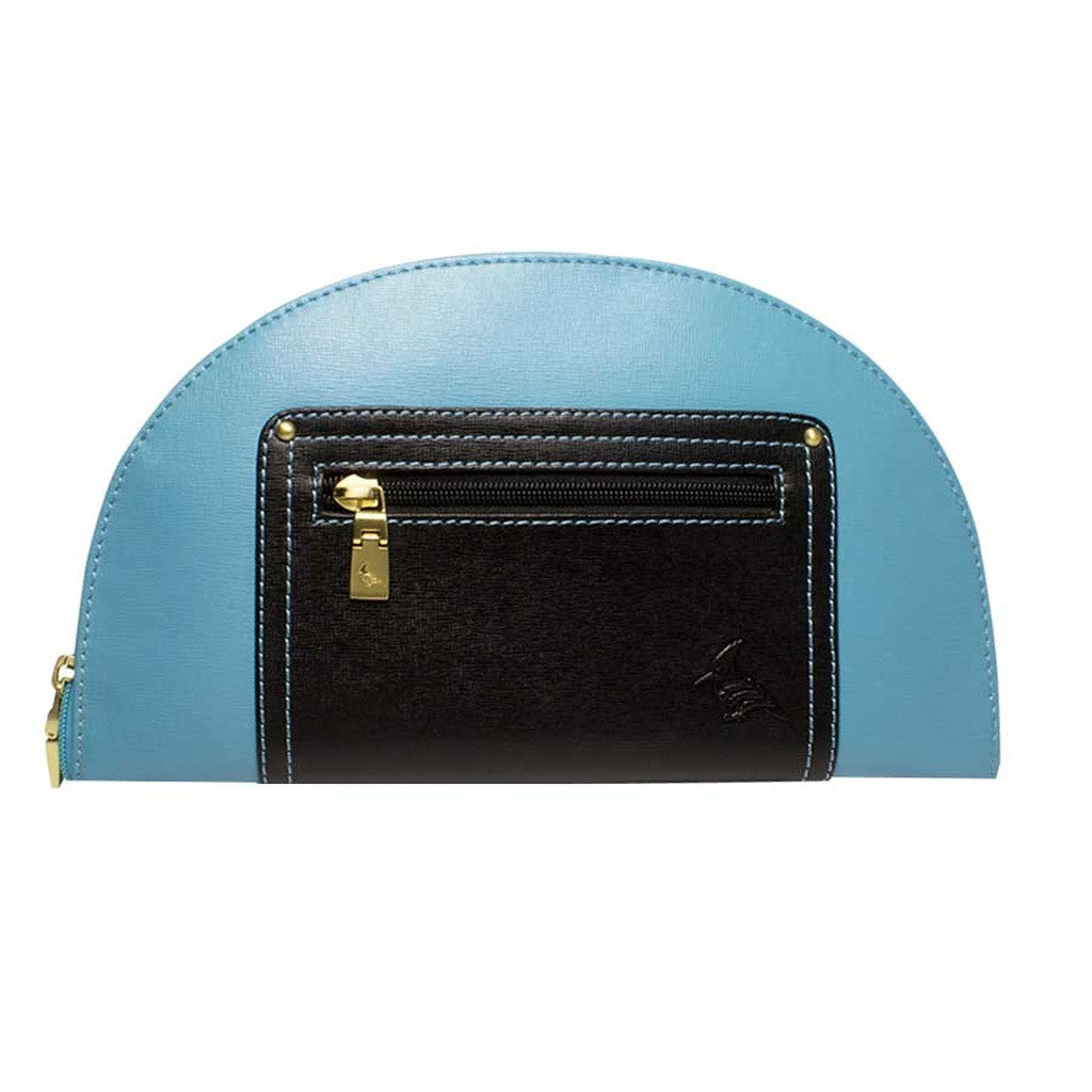 Blue/Black Saffiano Leather Clutch