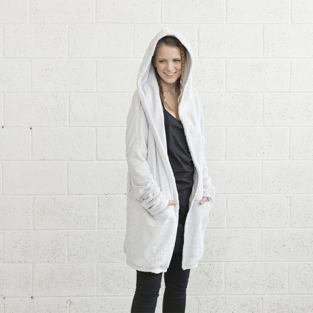 Faux Fur Hoodie- Light Grey