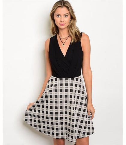 Women's Skirt Dress Black And White Party Dress
