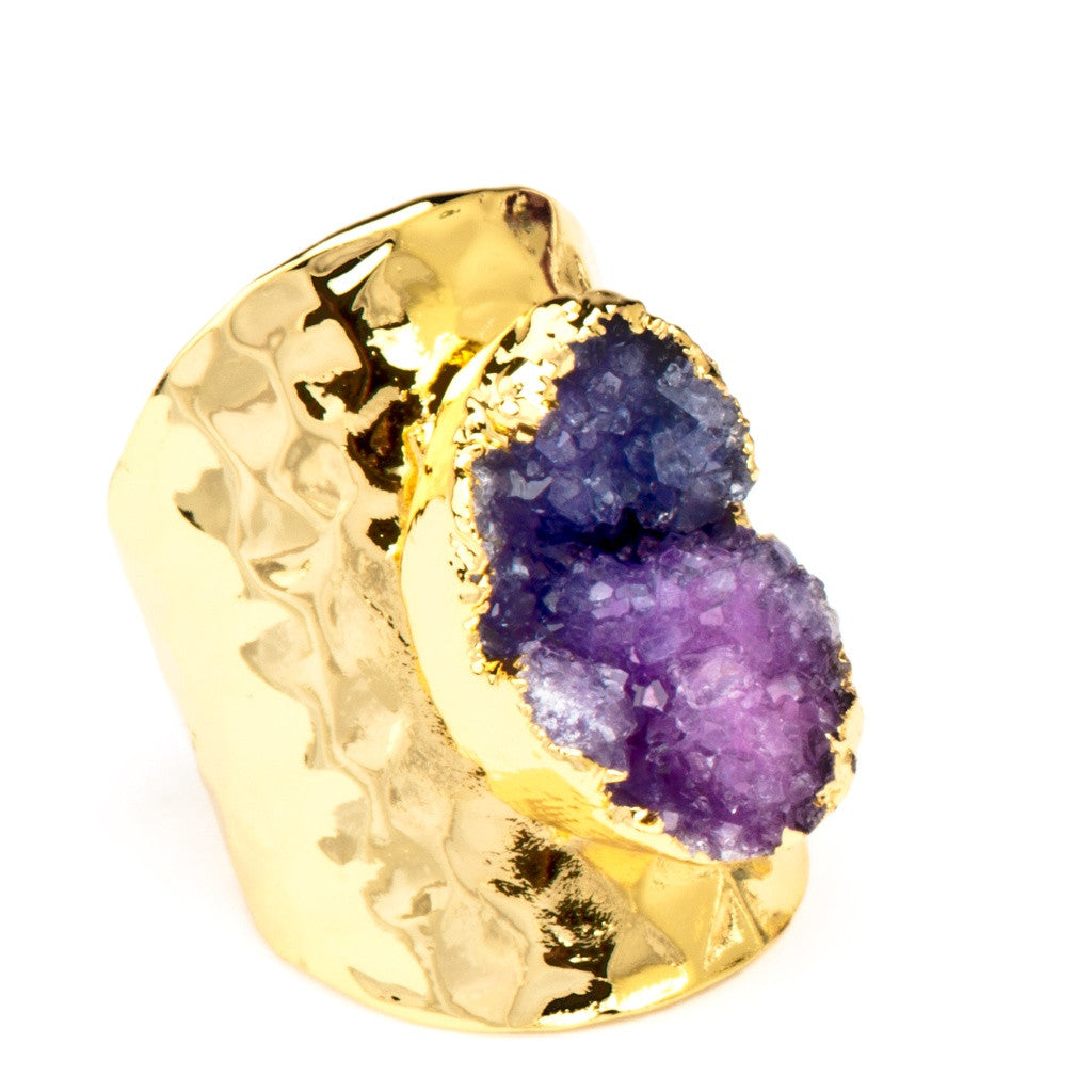 Terra Druzy Crystal Gold Statement Ring