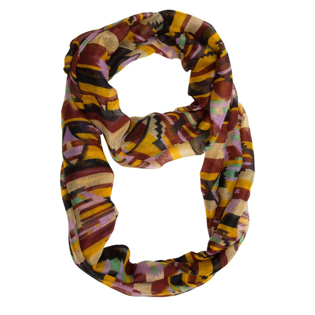 Black & Red Aztec Infinity Scarf