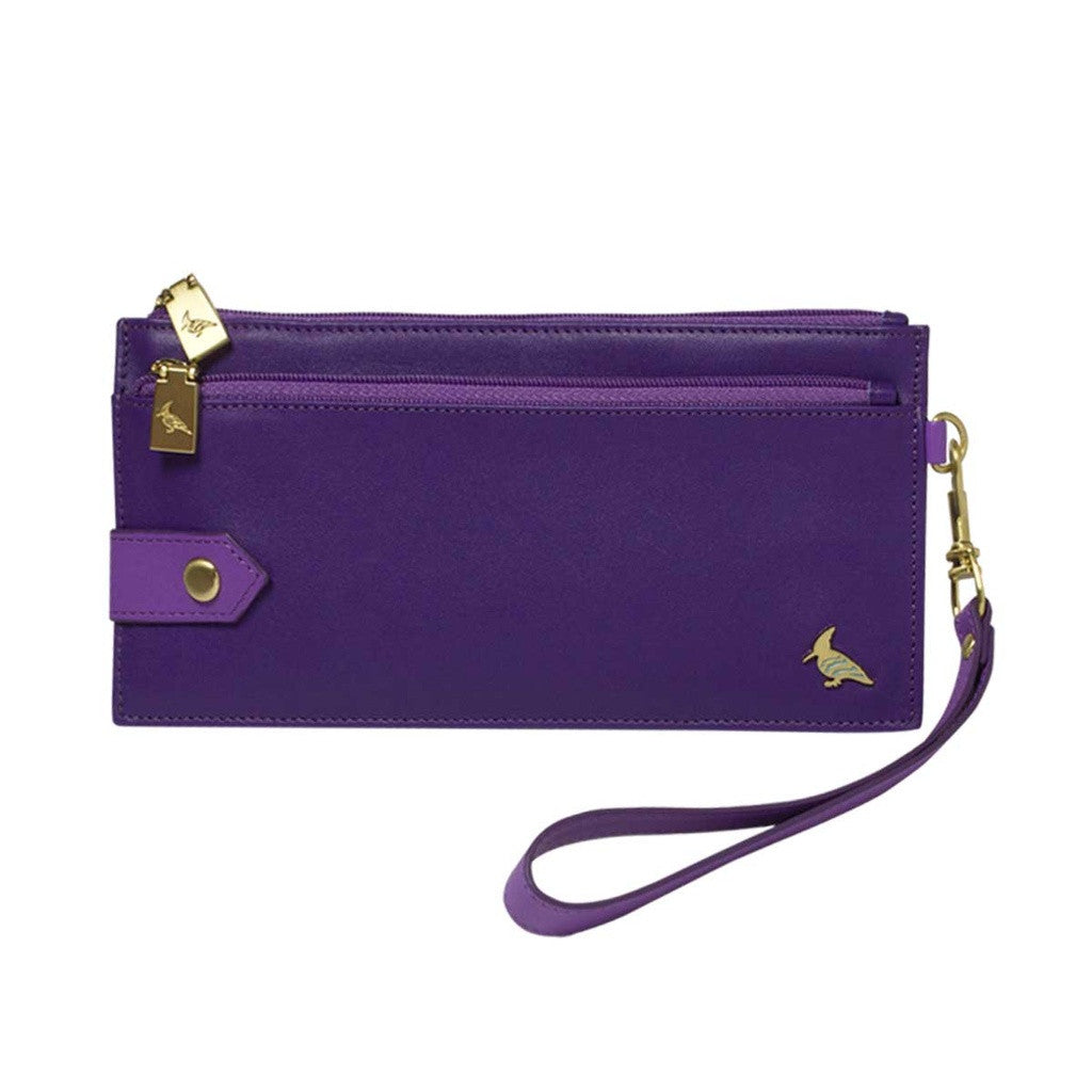 Purple Leather Wristlet Wallet - Kiskadee