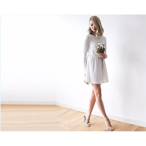 Backless Ivory Mini Dress With Long Sleeves  1042
