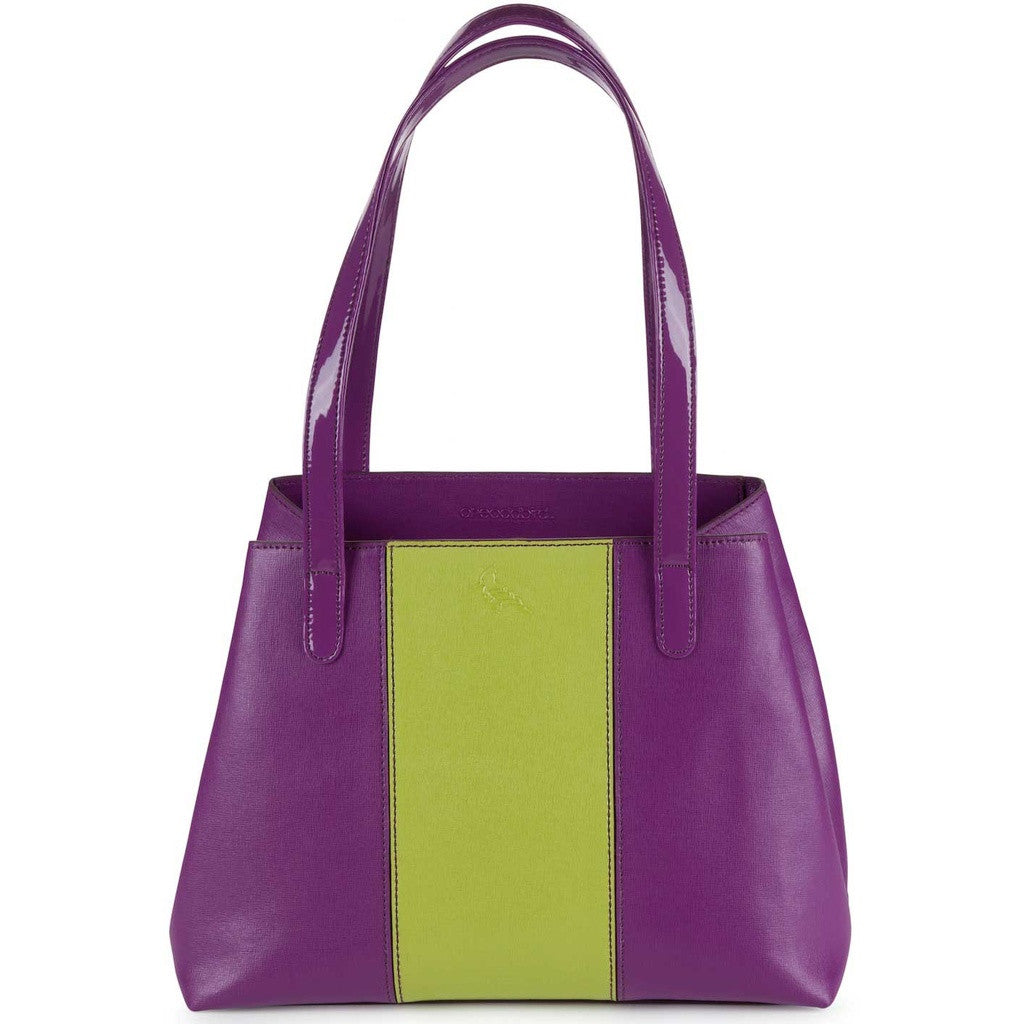 Purple/Lime Saffiano Leather Tote