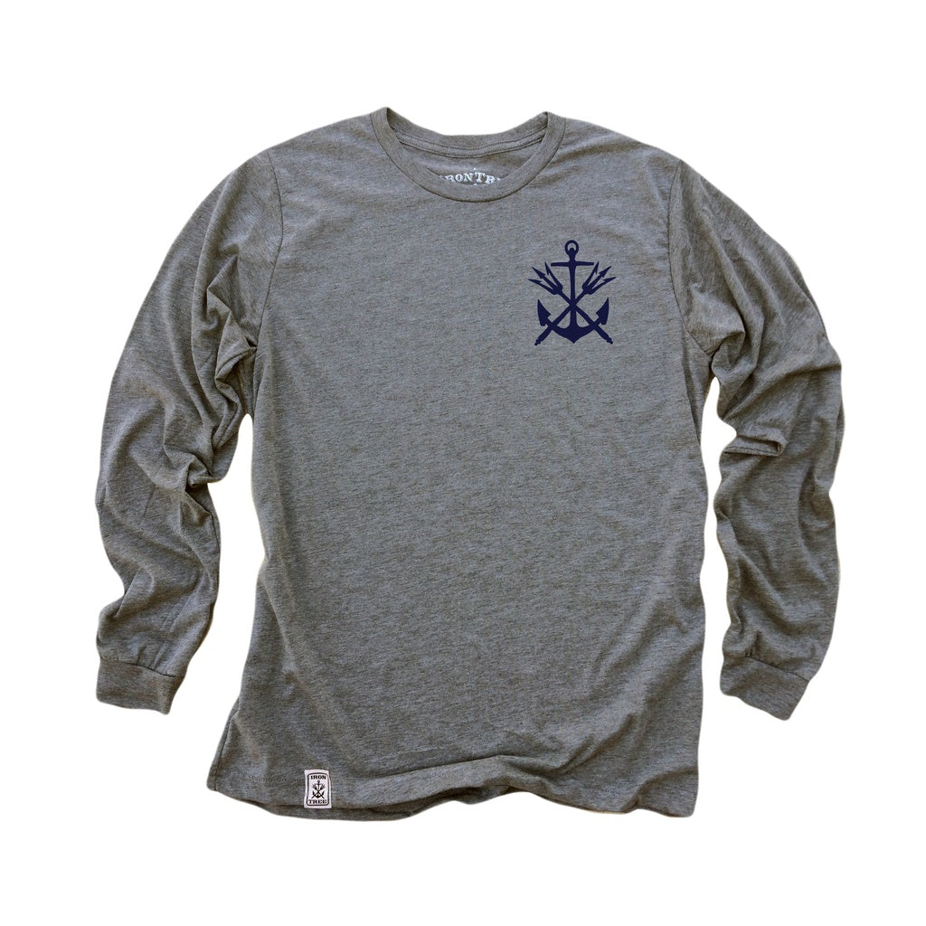 Anchor & Tridents ll: Tri-Blend Long Sleeve T-Shirt in Heather Grey