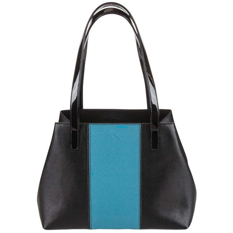 Black/Blue Saffiano Leather Handbag