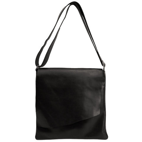Large Leather Rawhide Flap Crossbody Bag - Black